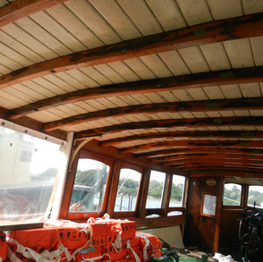 Wide angle view of cabin deckhead before removal