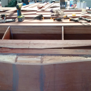 Roughing out strip plank under bow