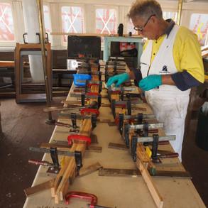 Laminating deckhead beams on jigs using purbond