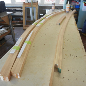 New beam timbers glued, ready for cleaning & trimming