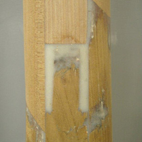 The scarfed and stepped joints. Note: The Glue used to fill gaps. This is actually stronger than having no gap. Remember – EPOX-E-GLUE loves open joints (gaps).