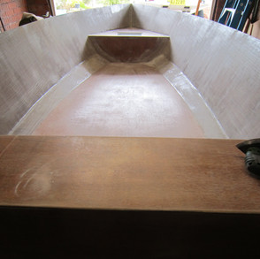 Floor glassed in showing forward bulkheads and water tight at compartment.