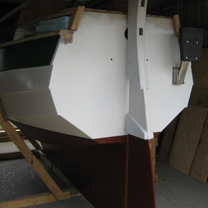 Finished boat looking from stern.