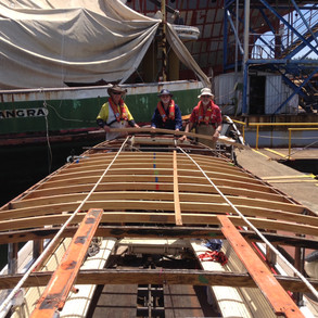 Before Installation, All new deckhead beams fitted, preparing for deckhead tongue and groove.