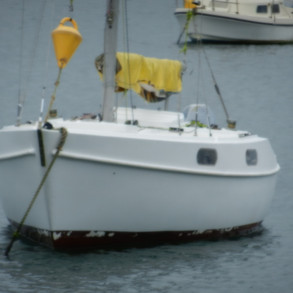 Close up of the finished paint job. Note: Antifoul missing as area was not undercoated before antifoul application.