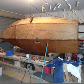 Hull before restoration Note again the varnish breakdown and discolouration due to exposure to moisture