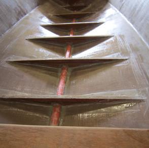 Floor frames fiberglassed in ready for the floor