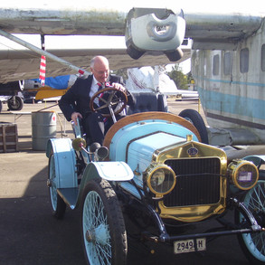 The French ambassador enjoying a French vintage at the Australian Aviation Museum for the centenary celebrations.