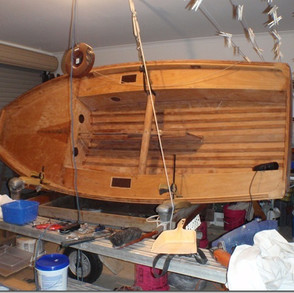 The topsides prior to restoration All vanish and verdigree was removed using stripper and sanding before sealing all timber with Bote Cote Marine Epoxy Resin