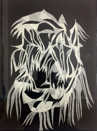 Cut paper on glass 50 x 40 cm 2018