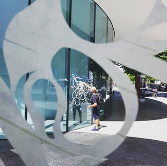 """""""Genesis"""" Cut paper on glass Centre culturel de Thionville - """"Puzzle"""" -France"""