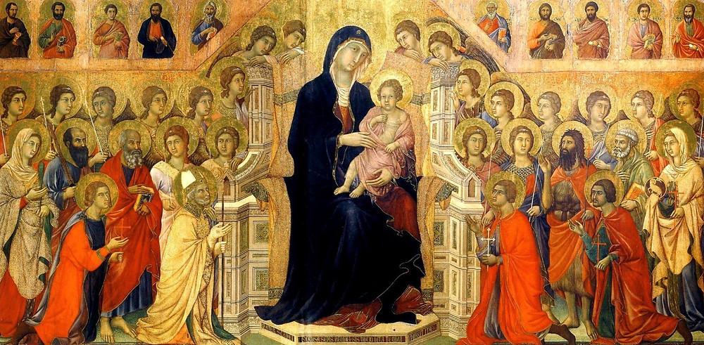"""Богоматір — найважливіша, тому вона вдвічі більша за апостолів та святих навколо """"Маеста"""", Дуччо ді Буонінсенья, 1308–1311 рр."""