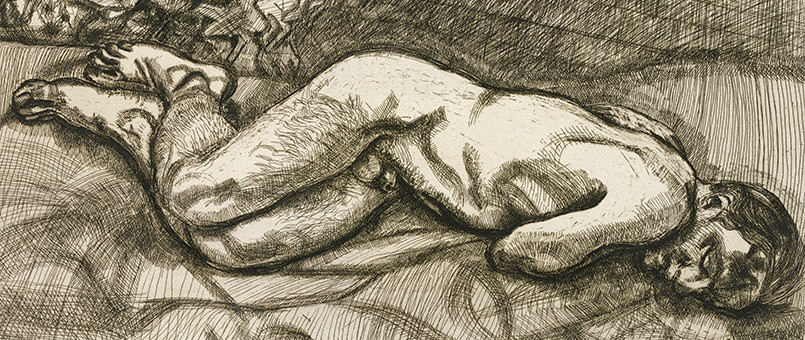 Naked Man on a Bed, 1987 (etching)