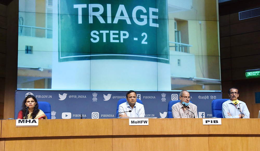 The Joint Secretary, Ministry of Health & Family Welfare, Shri Lav Agarwal addressing a press conference on 'COVID-19: Preparedness and Actions taken', in New Delhi on April 14, 2020. The Principal Director General (M&C), Press Information Bureau, Shri K.S. Dhatwalia, the Director General (M&C), Press Information Bureau, Shri Rajesh Malhotra and the Joint Secretary, MHA, Ms. Punya Salila Srivastava are also seen.