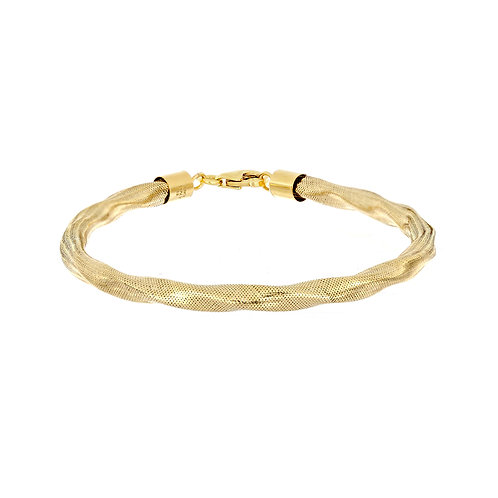 14K Gold Twisted Omega Bracelet