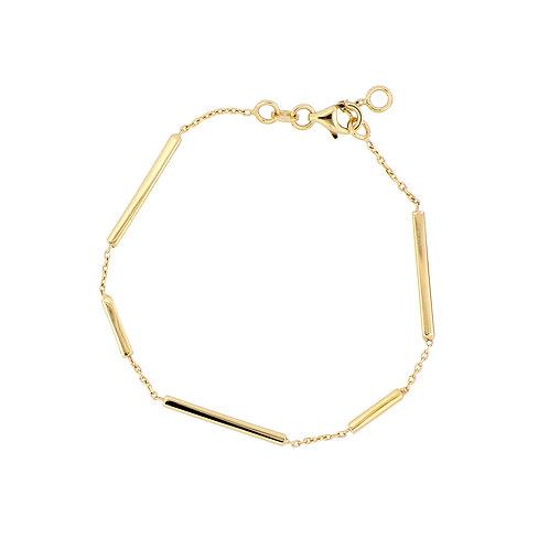 14K Gold Bar Station Bracelet