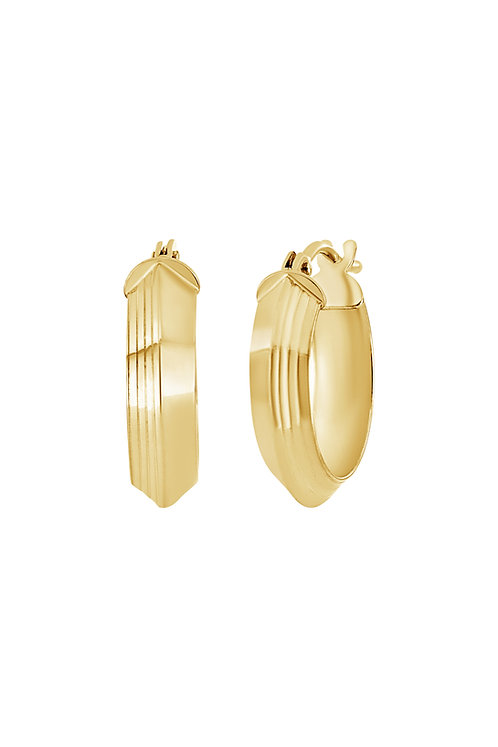 14K TEXTURED OVAL HOOPS