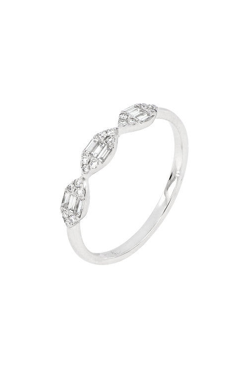 MIKA 3 STATION MARQUIS SHAPE CLUSTER RING