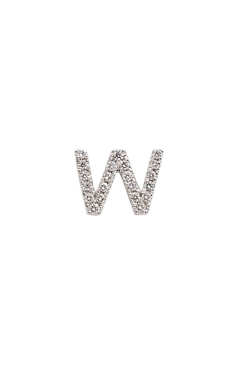 "Single Initial Diamond Stud - ""W"""