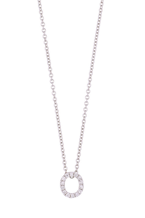 """Single Initial Diamond Pendant - """"O"""""""