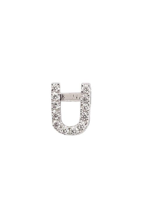 """Single Initial Diamond Stud - """"U"""""""