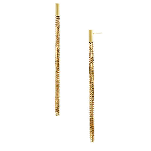 14K Long Fringe Earrings