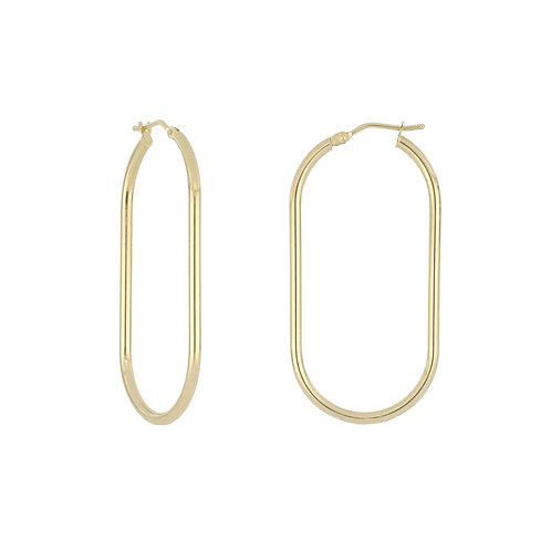 14K Gold Oblong Hoop Earrings