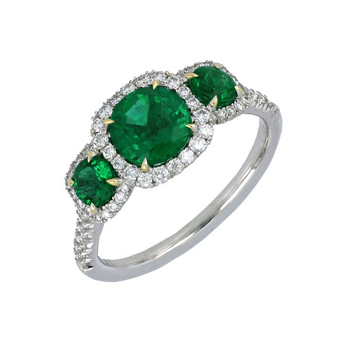 Three Emerald Stone Halo Ring