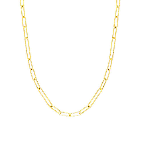 14K Gold Textured Link Chain Necklace