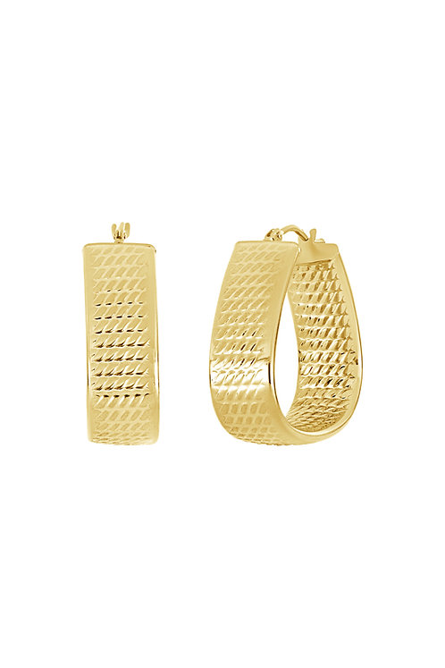 14K TEXTURED TRIANGLE HOOPS