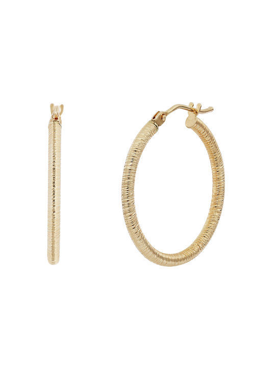 Bony Levy Gold Textured Round Hoops