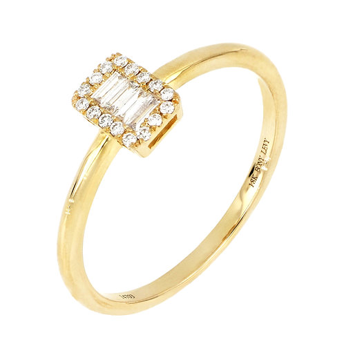 GETTY BAGUETTE HALO RING
