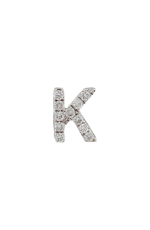 "Single Initial Diamond Stud - ""K"""