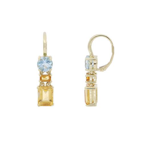 Aqua and Citrine Duo Earrings