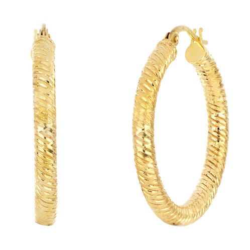 14K MEDIUM TWISTED THICK HOOPS