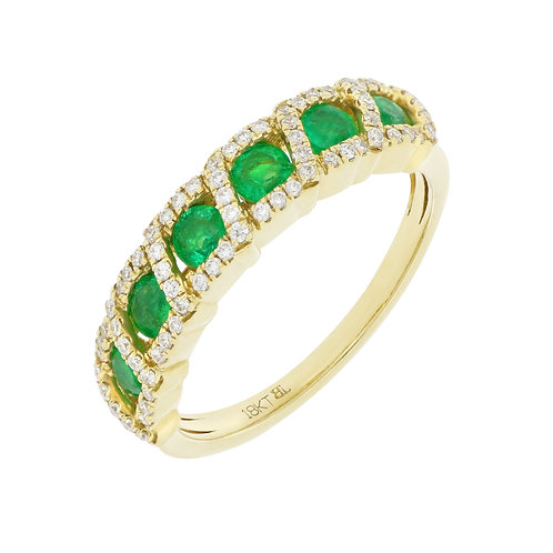 6 Emerald Stones with Diamonds Ring