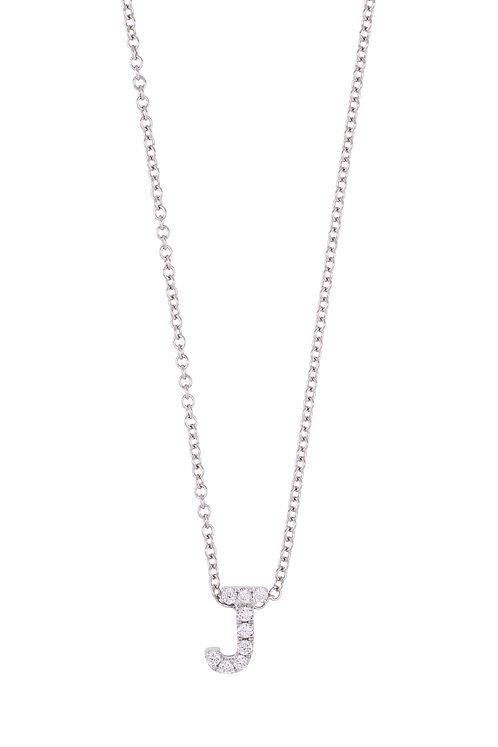 "Single Initial Diamond Pendant - ""J"""