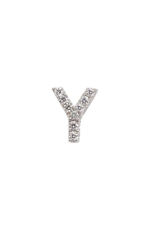 """Single Initial Diamond Stud - """"Y"""""""