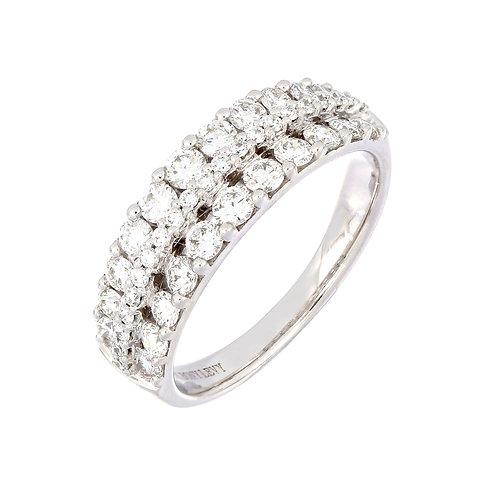 Tri-Row Mixed Diamond Ring