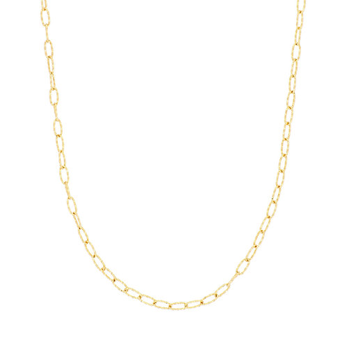 14K Gold Textured Link Chain