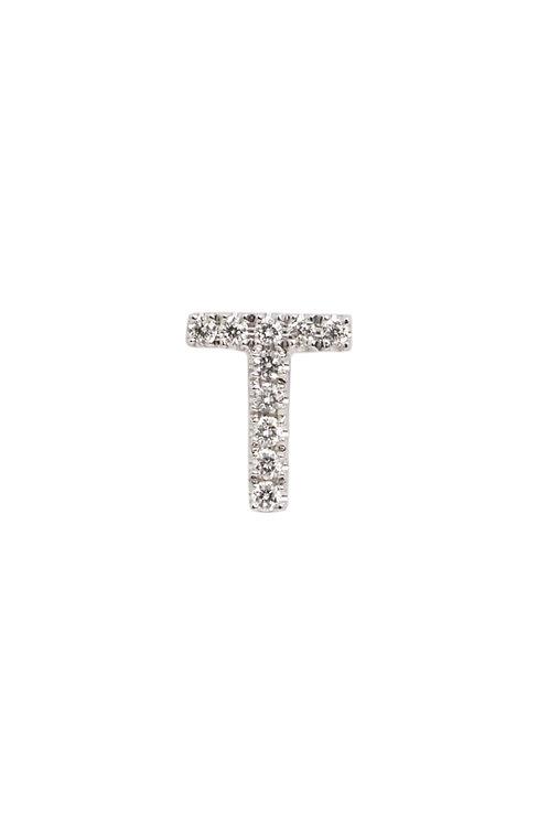 """Single Initial Diamond Stud - """"T"""""""
