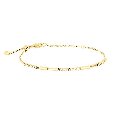 Gold and Diamond Adjustable Bracelet