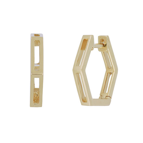 Hexagonal Split Hoop Earring