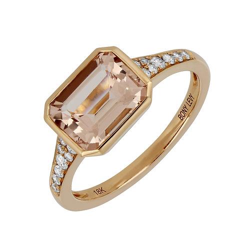 SummerSunset Emerald Cut Stackable Ring