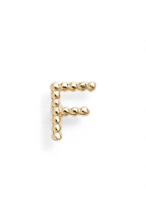 """Single Initial 14K Stud - """"F"""""""