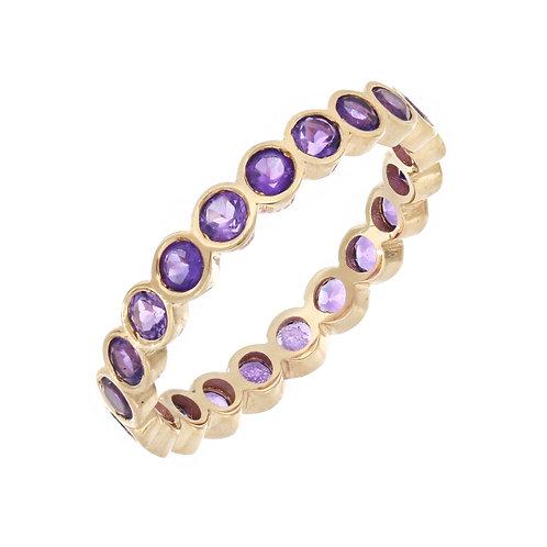 Amethyst Bezel Stone Set Eternity Ring