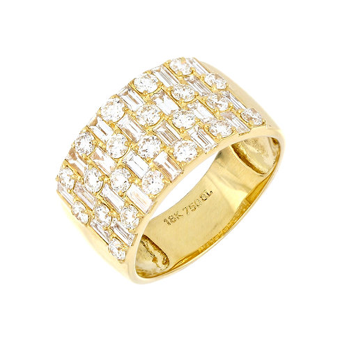 Baguette Cocktail Diamond Wide Band Ring
