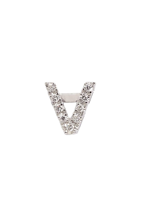 "Single Initial Diamond Stud - ""V"""