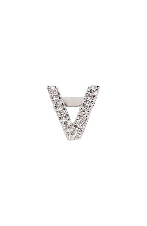 "Single Initial Diamond Stud - ""V"""