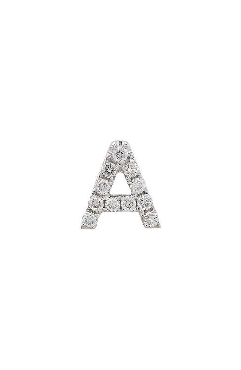 "Single Initial Diamond Stud - ""A"""